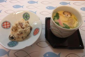 柿の白和えと茶碗蒸し.JPG